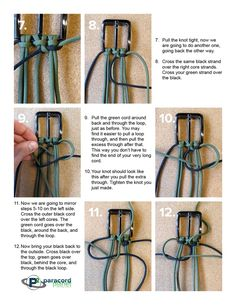Printable PDF tutorial shows you how to make a paracord belt with a metal buckle. Paracord Belt, Paracord Braids, Paracord Keychain, Paracord Bracelets, Macrame Bracelet Patterns, Macrame Patterns, Crochet Flower Patterns, Paracord Bracelet Instructions, Paracord Tutorial