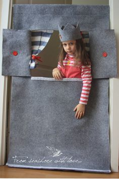Waldorf style, wool felt doorway puppet theater Grey lighthouse Puppet show stage/ Pretend play/ Kids party decorations/ Felt puppets Puppet Show Stage, Card Table Playhouse, Birthday Accessories, Felt Puppets, Little Theatre, Kids Party Decorations, Waldorf Toys, Fashion Photography Inspiration, Fabric Dolls