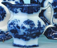 historical flow blue | Flow Blue china milk pitcher, Shapoo pattern, footed, T & R-B