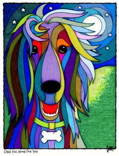 'Over the Moon for You' Dog Art Print, Reproduction of the Original Painting - by AEMgallery. Arte Pop, Pop Art, Arte Hip Hop, Art Moderne, Silk Painting, Whimsical Art, Art Plastique, Animal Paintings, Illustration