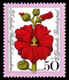 Malve- Mallow.  Series for social welfare 1974, flowers,Germany.Graphics by Heinz Schillinger