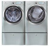 """#8: Electrolux Wave-Touch Silver Sands Front Load Laundry Pair with EWFLS70JSS 27"""" Washer EWMGD70JSS 27"""" Gas Dryer and 2 EWFLS70JSS Pedestals"""