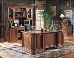 Photo of Hooker Furniture Villa Florence Wood Top Executive Desk Set in Relaxed Cherry (Office Furniture, Office Suites)