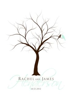 Thumb Print Wedding Tree Guest Book Poster