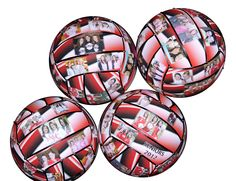 Personalize a regulation size volleyball with 30 photos and/or text to create a unique one-of-a kind gift. Each panel is highlighted with a coordinated ribbon and silver or gold studs. Each ball is handmade so no two will ever be exactly the same.