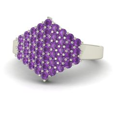 0 86 Ct Natural Round Cut Amethyst Engagement Ring in 18K White Gold | eBay