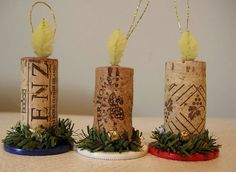 Wine Cork And Poker Chip Candle Ornament Trio For Christmas