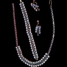 Beautiful Blue Glass Rhinestone Necklace/ Choker, Bracelet & Earrings Set ~ Multi Strand Set ~ Cobalt /Sapphire w/ Pale Blue Vintage Jewelry by EclecticJewells on Etsy