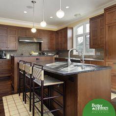 Kitchen with dark oak cabinets