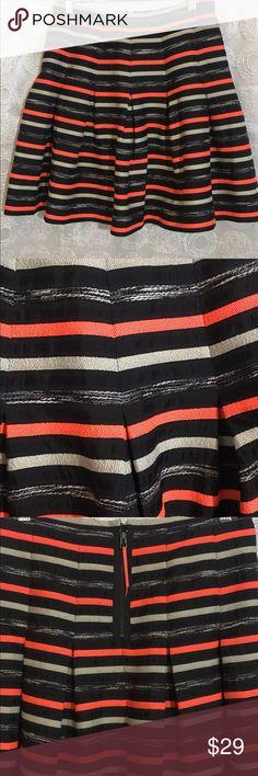 Anthropologie HD In Paris Skirt Pleated Orange black ribbon swing skirt size 6 H.D. Paris Skirts Mini