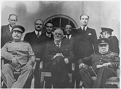 The Big Three (Stalin, FDR, Churchill) at the Tehran Conference, where they discussed and planned the D-Day invasion.