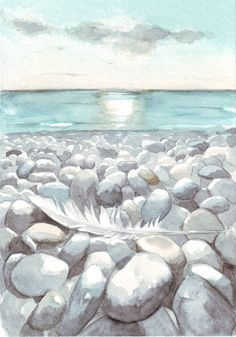 Original watercolor painting beach pebbles ocean by HelgaMcL, $22.00