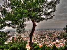 Town of Serres, northern Greece, from the hill above