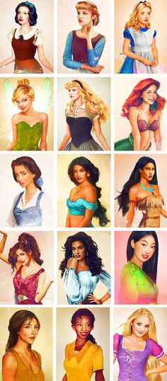 Real life Disney characters: the princesses, some of my favorite drawings