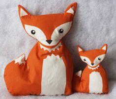 FOXES big and small fox  fabric plush softie by KatarinaRoccella
