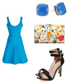 """Sexy Hervé Léger Dress"" by weavingmaidenbdayseptember21st ❤ liked on Polyvore featuring Hervé Léger, Kate Spade and Charlotte Olympia"