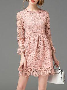 Pierced A-line Casual Plain 3/4 Sleeve Mini Dress