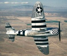 Republic Thunderbolt in Invasion Stripes Aircraft Photos, Ww2 Aircraft, Fighter Aircraft, Military Aircraft, Fighter Jets, Fixed Wing Aircraft, P 47 Thunderbolt, Ww2 Planes, Nose Art