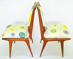 Cadeiras em jacarandá - padrão Círculos Coloridos