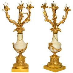Pair of Louis XVI Style Candelabras of Gilded Bronze and Marble