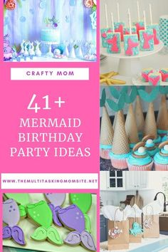 Check out these ideas for everything from decor to treats to food and favors for a fun mermaid birthday party. Garden Party Decorations, Birthday Decorations, Birthday Party Themes, Birthday Ideas, Party Activities, Activities For Kids, Crafts For Kids, Mermaid Birthday, Girl Birthday