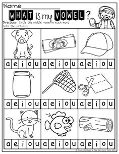Middle Vowels!  A great way for kids to isolate sounds and help them find the vowel in a CVC word.