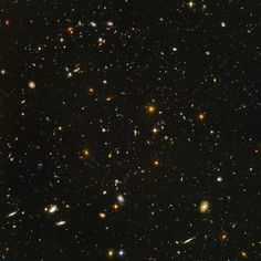 Hubble ultra deep field image.  All of those objects are distant galaxies.  The total field of view represents only 1 ten millionth of the total sky.