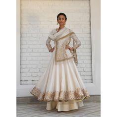 iridescent Ivory white gold Chanderi silk  anarkali w delicate gotta-tilla embroidery & soft tulle dupatta & sharara by rimple harpreet narula
