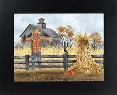 Billy Jacobs Scatterbrains Scarecrow and Pumpkin Art Print Billy Jacobs Prints, Autumn Scenes, Pumpkin Art, Country Scenes, Tole Painting, Autumn Painting, Country Art, Country Life, Pallet Art