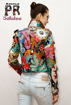 Women's leather jacket with handmade embroidery by Sofalee on Etsy 70s Fashion, Fashion Outfits, Womens Fashion, Stylish Outfits, Cool Outfits, Altered Couture, Painted Clothes, Floral Jacket, Diy Clothes
