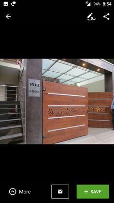 Gallery of parking door main gate design house gate design gate - fundermax gate design House Main Gates Design, Main Entrance Door Design, Front Gate Design, Door Gate Design, Room Door Design, House Design, Entrance Gates, Gate Designs Modern, Wooden Garage Doors