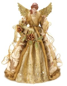 beautiful timeless golden christmas angel doll christmas holiday tree topper new