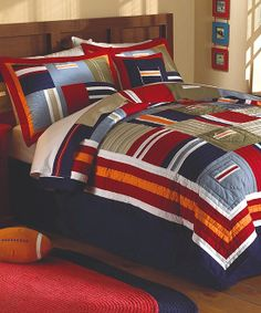 ronnie patchwork teen boys cotton quilt set bold classic colors in a geometric patchwork design use in a sports or nautical themed room or just for a