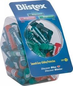 "Blistex Lip Balm Tube/Bowl Counter Display - 15 oz. Case Pack 72. Blistex lip balm tube/bowl. Fishbowl counter display. Smooth and easy-gliding protection for lips. Weight: 15 oz. Berry and Mint flavors Counter display Smooth and easy-gliding protection for lips """" Case Pack 72  Please note: If there is a color/size/type option, the option closest to the image will be shipped (Or you may receive a random color/size/type)."