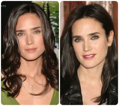Unsuitable Cool Winter colours are warm, pastel, and muted. No golden yellow, orange, apricot, peach, salmon, coral, khaki, beige, or yellow-green.  These colours make them look sallow.  Jennifer Connelly looks far better on the right with her home colours.