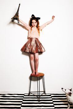 My Little Dress Up SS14 stunning flesh pink lace top and metallic silk skirts for girls