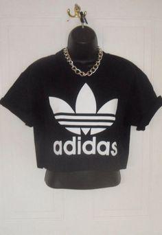 unisex customised adidas crop top t shirt top grunge festival fashion