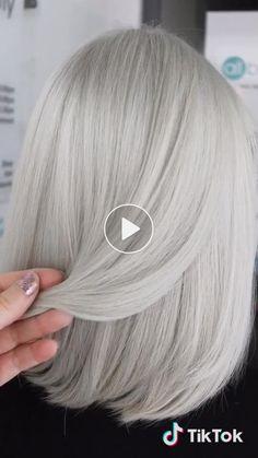 Anya Goy's short video with ♬ original sound - anya_goy Cheveux Courts Funky, Blonde Grise, Medium Hair Styles, Curly Hair Styles, Flippy Hair, Silver Hair Dye, Grey Hair Transformation, Grey Hair Inspiration, Gray Hair Highlights