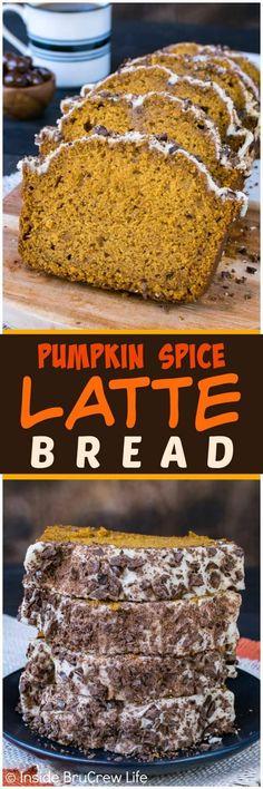 Pumpkin Spice Latte Bread - this sweet pumpkin bread has a coffee glaze & chocolate covered coffee beans. Great recipe for fall breakfast! #pumpkin #bread #fall #intheraw #pumpkinbread