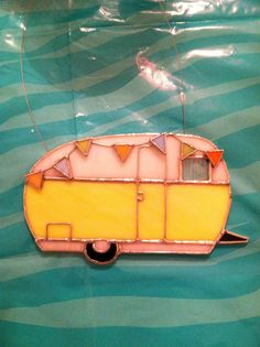 Vintage camper in stained glass I made for my 'sister's' birthday. She adores it!