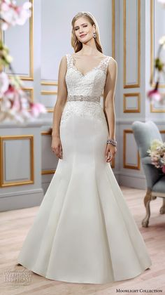 Moonlight collection spring 2016 wedding dresses beautiful mermaid gown fit flare trumpet lace strap v neckline embroidery bodice jeweled belt satin skirt j6391