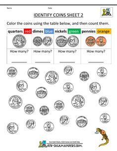 kindergarten printable worksheets identify coins 800 1035 kindergarten pinterest. Black Bedroom Furniture Sets. Home Design Ideas