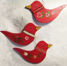 Swedish bird ornaments - Swedish red is so cheery.  There is never too much of it for Christmas. . .