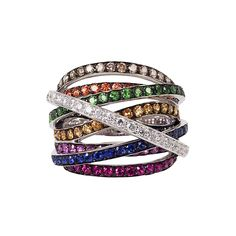 """Luna"" 18K Gold Multi Band Gemstone Diamond Ring - Plukka - Shop Fine Jewelry Online"