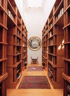 I love Michael Graves' home library! Post Modern Architecture, Architecture Details, Michael Graves, Postmodernism, Dark Wood, Sweet Home, Villa, Interior Design, Libraries