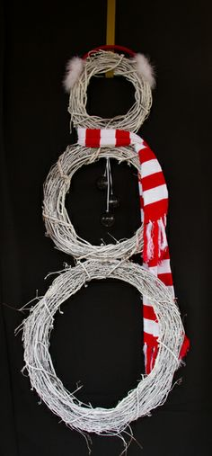Fun Snowman Wreath (made out of Grapevine) by McClain Christian Academy