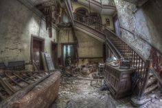 'Fading Beauty' old staircase HDR urbex Abandoned Houses, Abandoned Places, All Falls Down, Photo Essay, Old Buildings, Stairways, Beautiful Places, Floor Plans, In This Moment