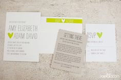 STUNNINGLY SIMPLE: The use of the green here is just gorgeous ... I'm not big fan of any kind of clip art on a wedding invitation unless it's used tastefully, and I really like this heart.