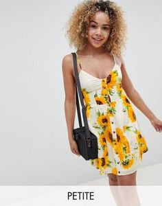 Sisters Of The Tribe Petite Mini Cami Skater Dress In Sunflower Print