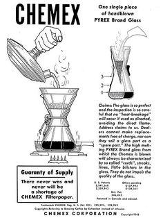 chemex ad for  Schlumbohm's coffee maker, 1943